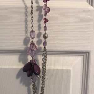 Purple and silver long necklace